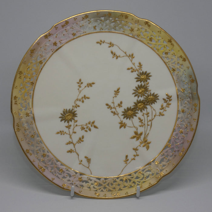 Grainger and Co Royal Worcester Blush Gilt Reticulated plate #2