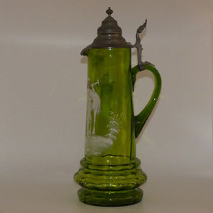 Green Mary Gregory tall ewer with metal lid, depicting a bugling cavalier and his horse
