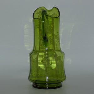 Green Mary Gregory tall glass jug depicting a young girl on swing