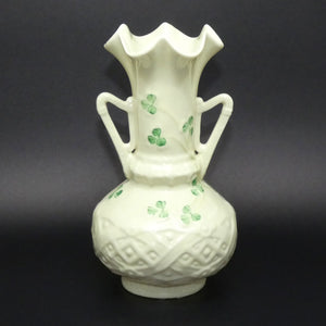 Belleek Harp Shamrock flaired vase (Brown base stamp)