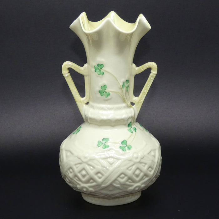 Belleek Harp Shamrock flaired vase (Lustre inside)