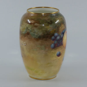 Royal Doulton hand painted and gilt fruit bulbous vase (Harper)