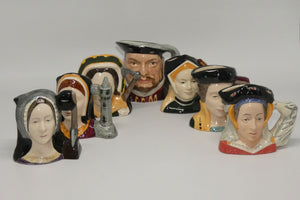 D6648 - D6752 Royal Doulton miniature character jug Henry VIII & His Six Wives set