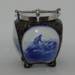 Doulton Burslem Hunting and Game Keeping unusual biscuit barrel with EPNS handle and lid