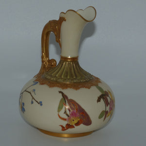 Royal Worcester Blush Ivory hand painted bulbous jug with orchid and dolphin handle (Smaller size)