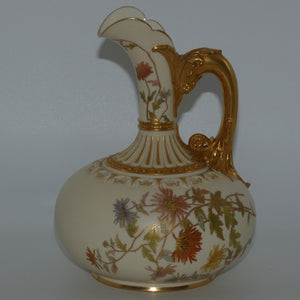 Royal Worcester Blush Ivory hand painted bulbous jug with dolphin handle (Larger)