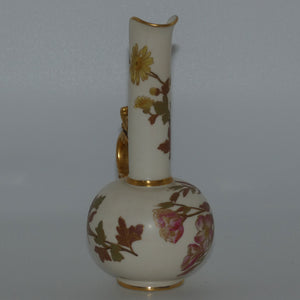 Royal Worcester Blush Ivory hand painted jug with dragon handle