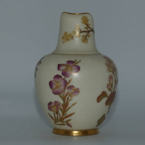 Royal Worcester Blush Ivory hand painted pink floral and foliage very small flatback jug