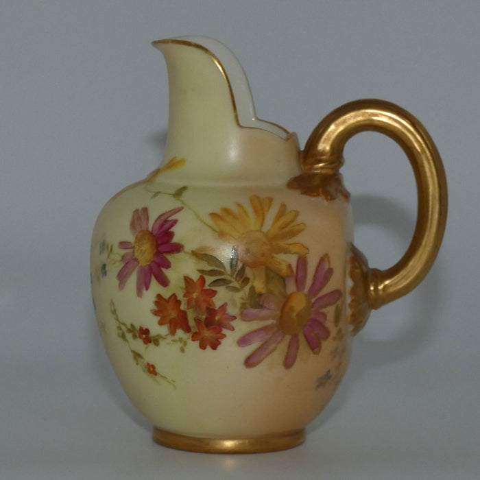 Royal Worcester Blush Ivory hand painted pink daisy very small flatback jug