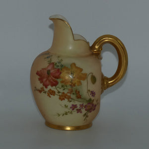 Royal Worcester Blush Ivory hand painted flatback Poppies jug (Small)