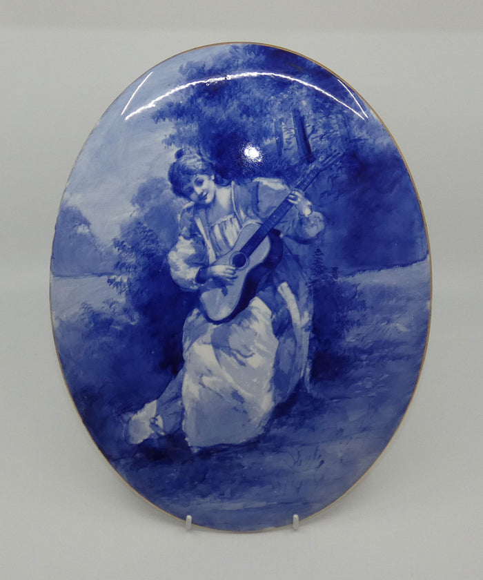 Royal Doulton Blue Childrens large oval wall plaque (Woman playing guitar)