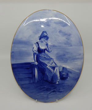Royal Doulton Blue Childrens large oval wall plaque (Woman by seashore)