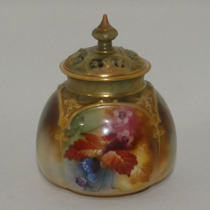 Royal Worcester hand painted leaves and berries bulbous shape pot pourri with reticulated lid