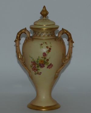 Royal Worcester Blush Ivory hand painted floral lidded and handled urn with reticulated neck