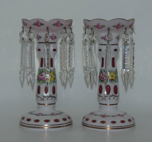 Pair of Bohemian Hand Painted and Gilt Cased Glass Lustres c.1950