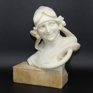 Art Deco Alabaster bust of a female race car driver signed Giusto Viti c.1920