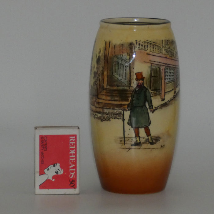 Royal Doulton Dickens Mr Micawber cylindrical vase D5175