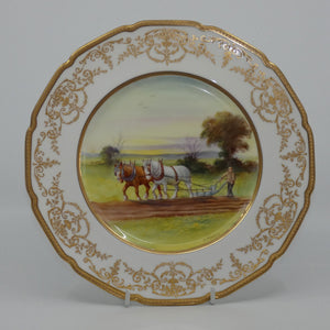 Royal Doulton hand painted and gilt Ploughing plate (Morrey)