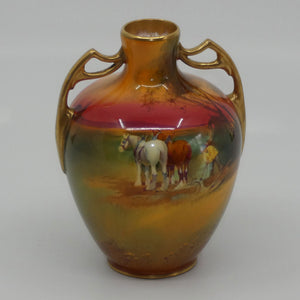 Royal Doulton hand painted Ploughing gilt twin handled vase (H Nixon)
