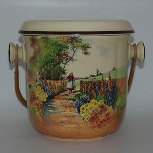 Royal Doulton Country Garden chamber pail with wicker handle D4932