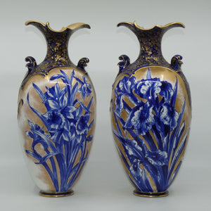 Doulton Burslem Blue Iris and Daffodil pair of large fancy bulbous vases with little handles and gilt highlights
