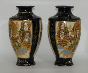 Early 20th century Satsuma pair of matching mirror image large bulbous vases with enamelling and gilt highlights