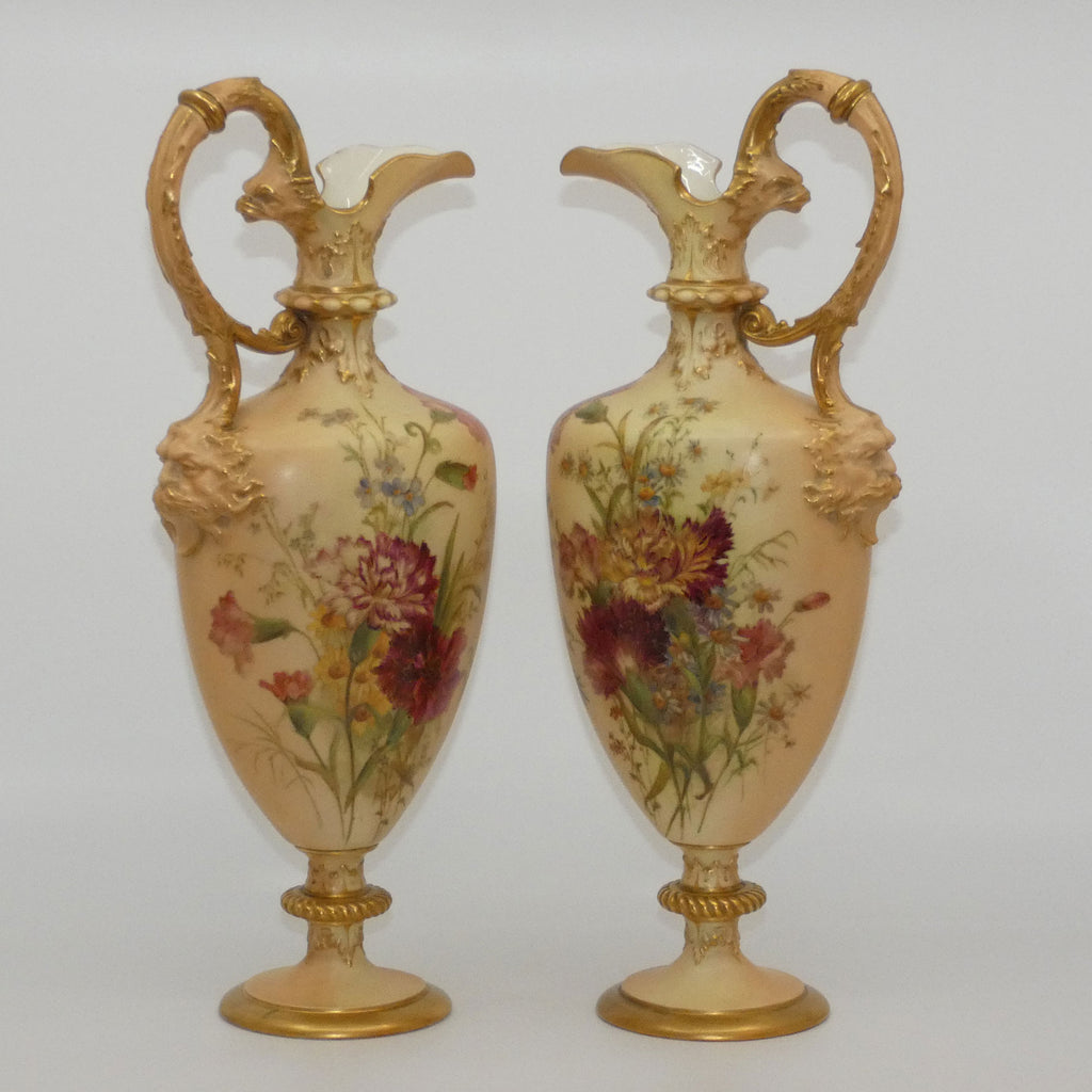 Royal Worcester Blush Ivory hand painted and gilt Carnation pair of tall ewers