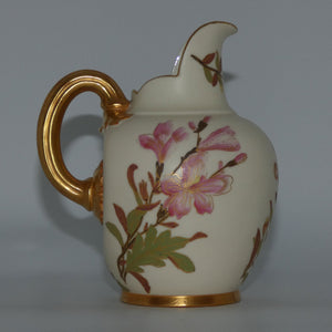 Royal Worcester Blush Ivory hand painted pink and blue floral smaller flatback jug (signed BN)