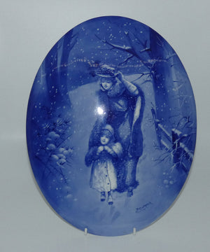 Doulton Burslem Blue Childrens large oval wall plaque (Woman sheltering child; Curnock)