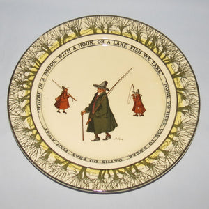 Royal Doulton Izaak Walton Gallant Fishers smaller plate: Where in a brook/None do here