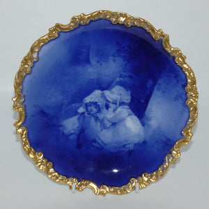 Doulton Burslem Blue Childrens fancy plate with gilt border (Two girls & tiny witch)