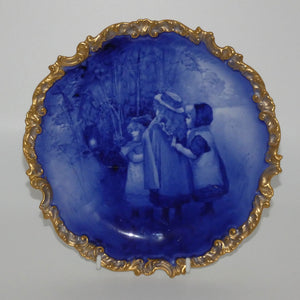 Doulton Burslem Blue Childrens fancy plate with gilt border (Three girls watching Tinkerbell)