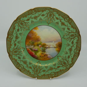 Royal Doulton hand painted and gilt Lake, Bridge & Garden plate (Price)