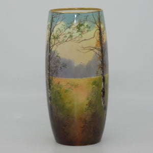 Royal Doulton hand painted & gilt Trees cylindrical vase (Price)
