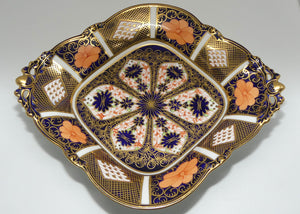 Royal Crown Derby Old Imari quatrefoil diamond handled dish with tiny quad feet (Larger)