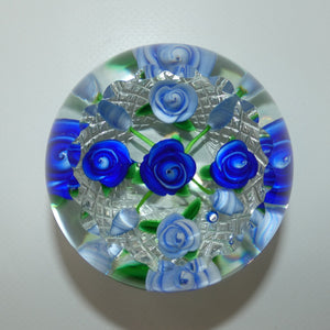 John Deacons Scotland Lampwork Rose Bowl Blue paperweight