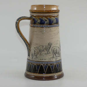 Doulton Lambeth Hannah Barlow stoneware ale jug incised with sheep with applied rosettes, beads & foliage