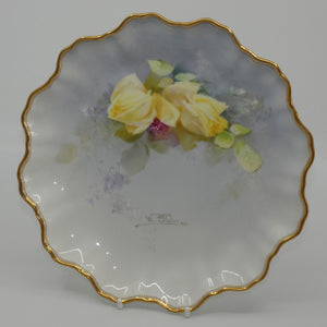 Royal Doulton hand painted Yellow Roses plate (Slater)