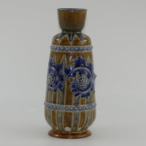 Doulton Lambeth George Tinworth stoneware smaller bulbous vase with applied beads, rosettes and foliage