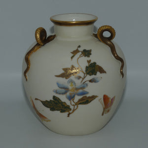 Royal Worcester Blush Ivory and Gilt snake handle triptych vase c.1882