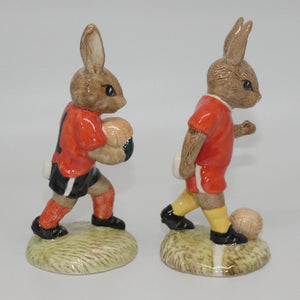 DB118-119 Royal Doulton Bunnykins Goalkeeper & Footballer set (Red)