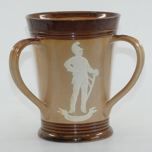 Doulton Lambeth stoneware tyg depicting soldiers