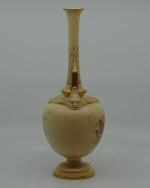 Royal Worcester Blush Ivory hand painted floral vase with spire handles (Raby)