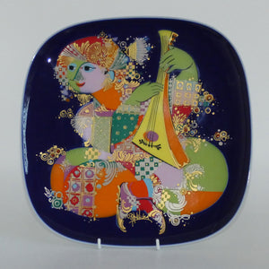 Rosenthal Bjorn Wiinblad Musician with Lute large heavy square wall plate (personally signed)