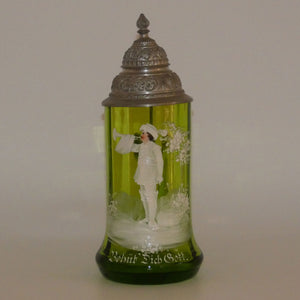 Green Mary Gregory glass Stein Behut Dich Gott