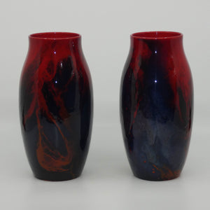 Royal Doulton Flambe Sung pair of veined vases