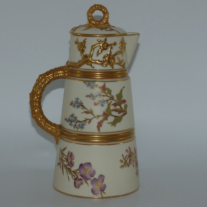 Royal Worcester Blush Ivory hand painted tall lidded chocolate pot
