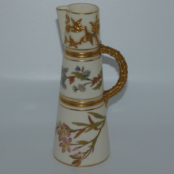 Royal Worcester Blush Ivory hand painted tall conical jug