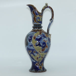 Doulton Lambeth Mark V Marshall elaborately decorated tall ewer