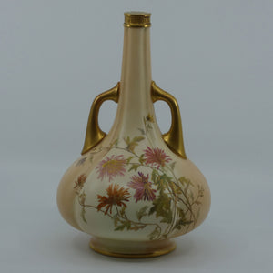 Royal Worcester Blush Ivory hand painted tall narrow neck handled bulbous vase